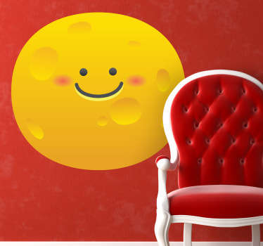 Kids Stickers - Comic style illustration of a smiling yellow moon. Ideal for kids bedrooms and play areas.