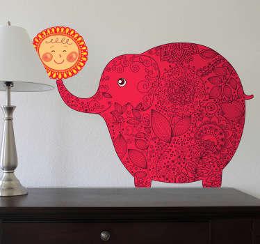 Vinilo infantil elefante feliz con sol