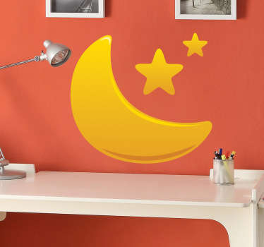 A kids decal of a vibrant golden gradient illustration of a half moon and stars. A brilliant decal from our collection of star wall stickers.