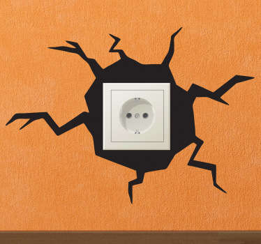 Use this plug socket wall sticker to add a touch of fun and excitement to even the most boring part of your home decor. Trick your family and friends into thinking there's a hole in your wall with this amazing silhouette sticker.