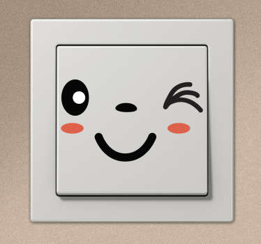 Sticker lichtschakelaar knipoog gezicht