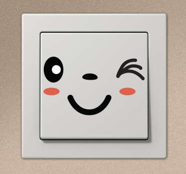 Winky Face Light Switch Sticker
