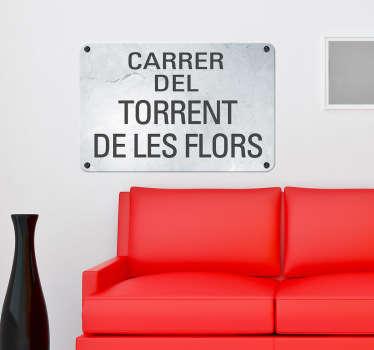 Vinilo placa calle Barcelona personalizada