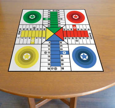 A brilliant board game decal to decorate your table and play Ludo with your friends and family. Great children's sticker to personalise their bedroom, furniture or play room.