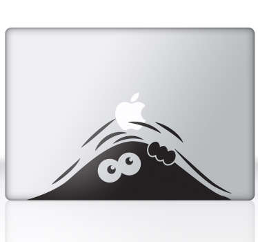 Funny sticker with a mysterious figure peering underneath your laptop. Surprise your friends with this design from our MacBook stickers collection.