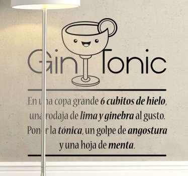 Vinilo decorativo receta gin tonic