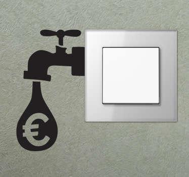 Sticker geldkraan lichtschakelaar