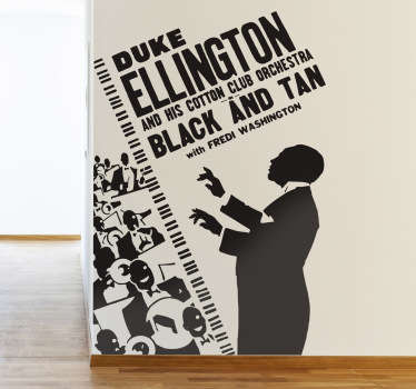 Spectacular sticker of this famous jazz musician conducting his orchestra. Available in 50 colours. High quality materials.