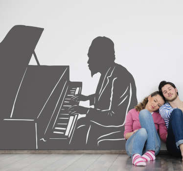 Wall Stickers - Silhouette outline of Thelonious Monk, American jazz pianist and composer. Ideal for jazz fans.