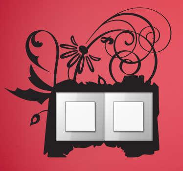 Sticker double interrupteur cadre floral