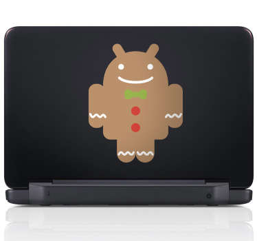 Gingerbread Android Logo Laptop Sticker