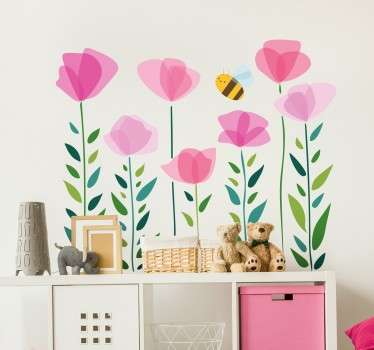 Fun and playful flower wall sticker of plants and a bee. Bright, vibrant and colourful nature wall sticker for kids. Available in a variety of sizes. Ideal for decorating the nursery, bedrooms and play areas for kids.