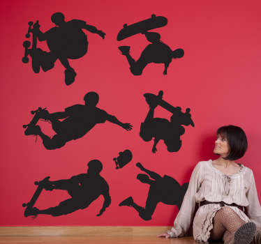 Skateboarder silhouette decals - Decorate a teens room or skate park with images of skaters performing different stunts.