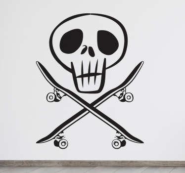 Sticker skate tête-de-mort