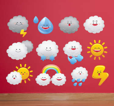 Sticker kinderkamer set emoticons weer