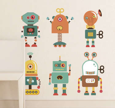 Collection of robot wall stickers - illustration of six fun alien robots. Your children will love our colourful robot decals!