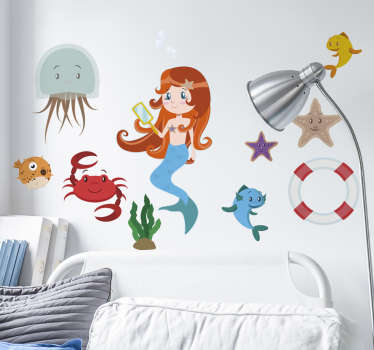 A set of stickers related to the sea life from our collection of sea wall stickers. Ideal to decorate all spaces at home or work.