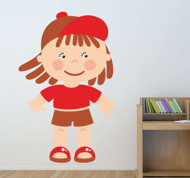 Kids wall sticker art - illustration of a little boy who is ready to have some fun and play. Choose your size. High quality.