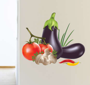 Vibrant colourful wall sticker of various vegetables organised appealingly, perfect for decorating your kitchen or dining room. Ideal for homes or businesses. Decorate walls, windows, furniture, appliances and more.