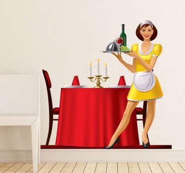 Luxury Dinner Waitress Sticker