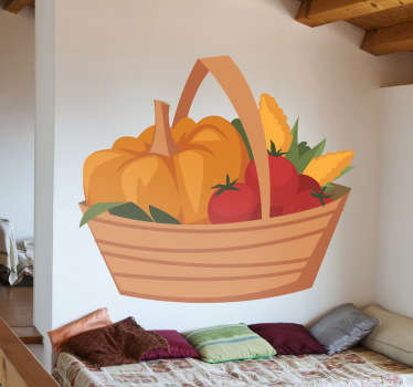 Wall Stickers - Decals - Vibrant colourful illustration  of a basket of organic goods, fruits and vegetables.