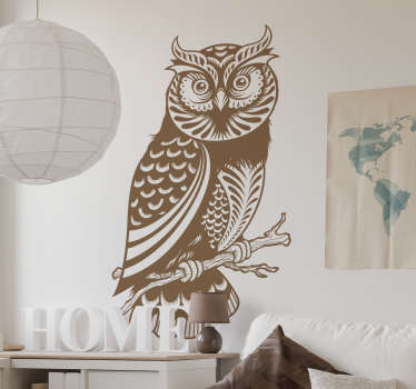 This decorative vinyl from our collection of owl wall stickers is an impressive design to decorate any space at home.