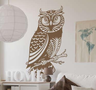 Naklejka dekoracyjna rysunek sowy na gałęzi
