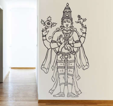 A very detailed design from our Buddha wall stickers that illustrates the second God in the Hindu triumvirate.