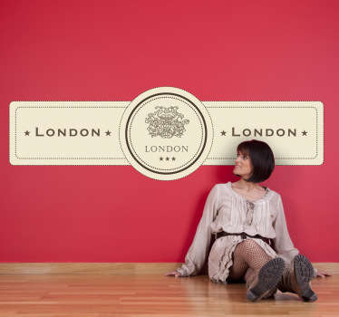 Elegant and classic design illustrating a London label from our retro wall stickers collection to decorate your home or business.