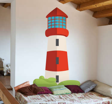 This red and white lighthouse from our collection of sea wall stickers is ideal for children. Decorate your children's bedroom and play area!
