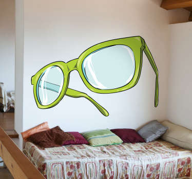 An original illustration of a pair or green glasses from our superb collection of teal wall stickers to give your place a stylish appearance.