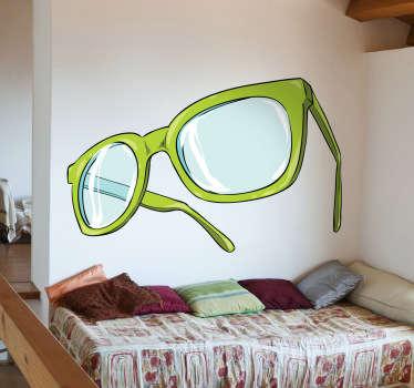 Green Glasses Wall Sticker
