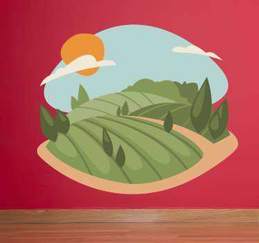 Wall Stickers - Illustration of a landscape filled with crops, hills, trees and rocks. Available in various sizes.