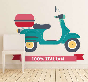 Teal Vespa Scooter Sticker