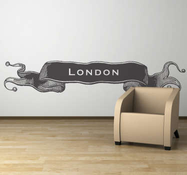 Deze muursticker omtrent een klassiek ontwerp van een vlag geïnspireerd door de geschiedenis van Londen.