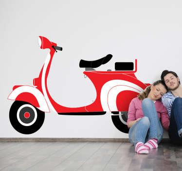 Red Vespa Decorative Sticker