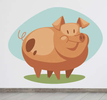 Sticker enfant illustration cochon rose