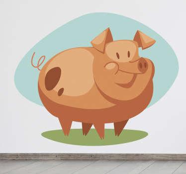 Vinilo infantil cerdo retro