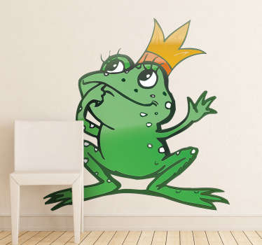 Kids Wall Stickers - Playful and fun illustration of a lady frog with long eye lashes and a golden crown. Ideal for decorating areas for children.