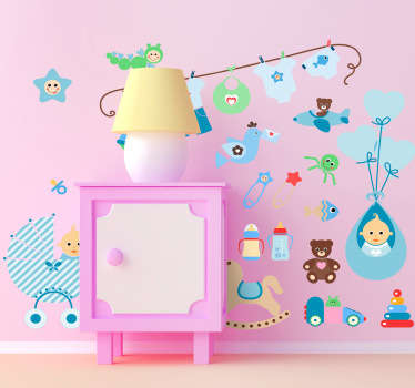 Decorate your child's room with these cute wall decals. Turn those empty walls into a creative set of colourful images that your child will love.