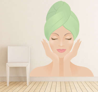 Illustration of a beautiful woman ready for some relaxation time. Ideal for decorating businesses related with health and beauty. This decal will create a more pleasant atmosphere and aesthetic within your home or business that your family or customers will love.