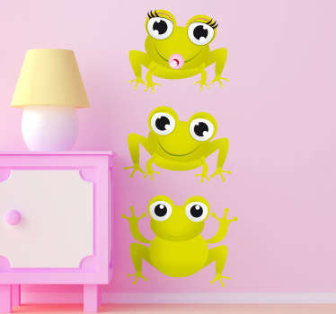 Lasten seinätarra kolme sammakkoa