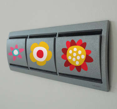 Sticker lichtschakelaar bloemen