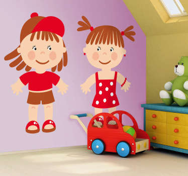 Kids wall sticker art - a couple of toddlers in red.Decals ideal for decorating nurseries and play areas for kids.