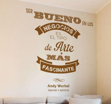 Original diseño en adhesivo realizado por el artista catalán VIRGUIS de estilo retro y una frase del artista neoyorquino.