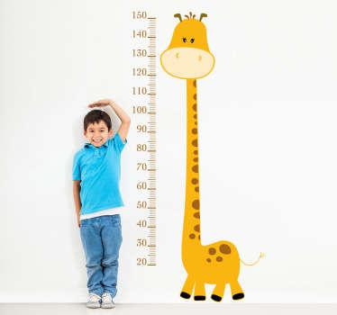 Gul giraffe høyde diagram barn klistremerke