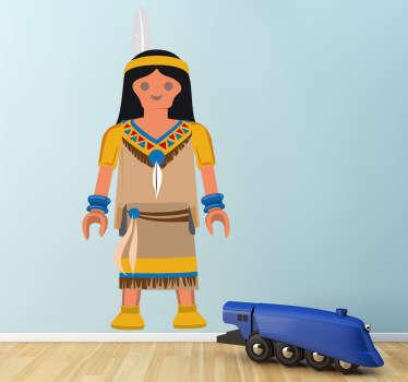 Stickers pour enfant illustrant un Playmobil indien. Super idée déco pour la chambre d'enfant et tout autre espace de jeux.