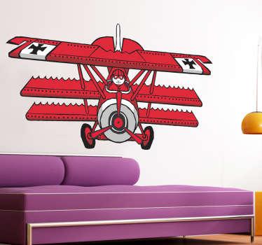 Sticker tekening rood vliegtuig