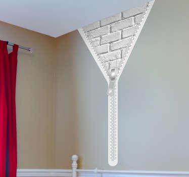 Murstein glidelås dekorative klistremerke