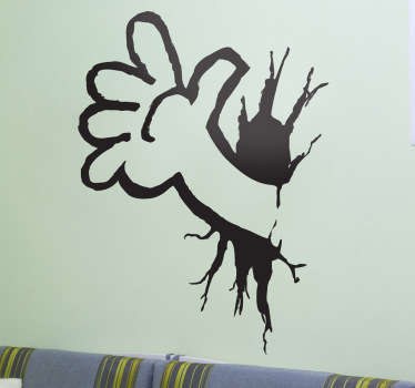 Sticker cartoon arm door muur